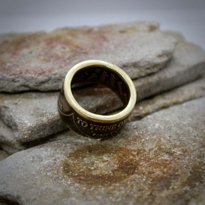 Sobriety Chip Coin Ring, alcoholic addiction recovery, AA anniversary gifts for men and women. 6