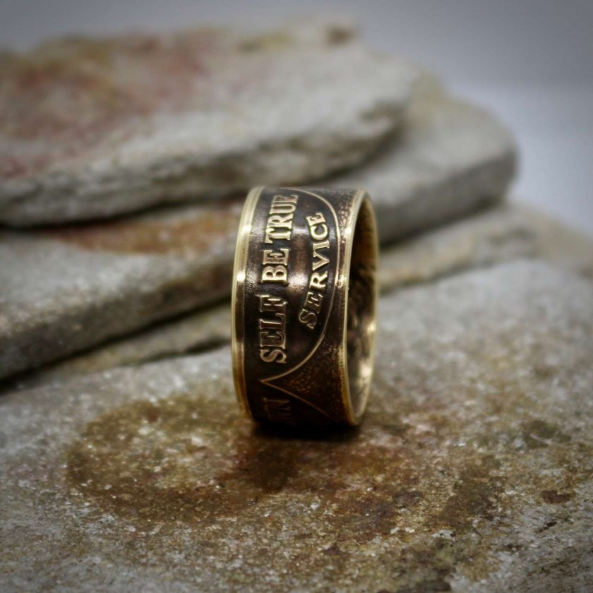 Sobriety Chip Coin Ring, alcoholic addiction recovery, AA anniversary gifts for men and women. 8