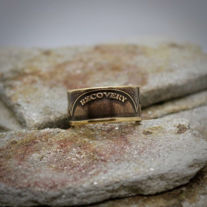 Sobriety Chip Coin Ring, alcoholic addiction recovery, AA anniversary gifts for men and women. 9