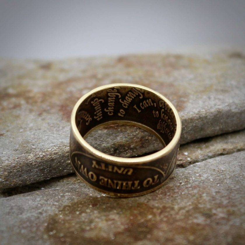 Sobriety Chip Coin Ring, alcoholic addiction recovery, AA anniversary gifts for men and women. 5