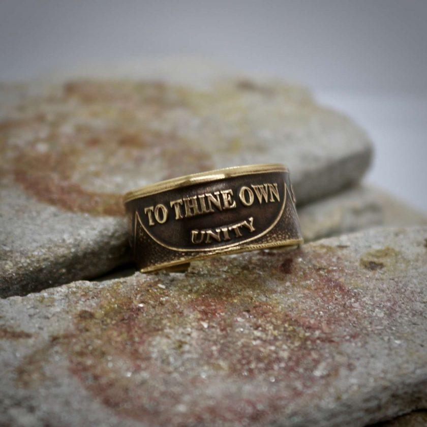 Sobriety Chip Coin Ring, alcoholic addiction recovery, AA anniversary gifts for men and women. 1
