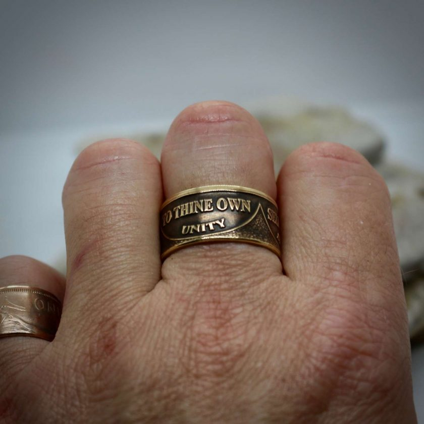 Sobriety Chip Coin Ring, alcoholic addiction recovery, AA anniversary gifts for men and women. 3