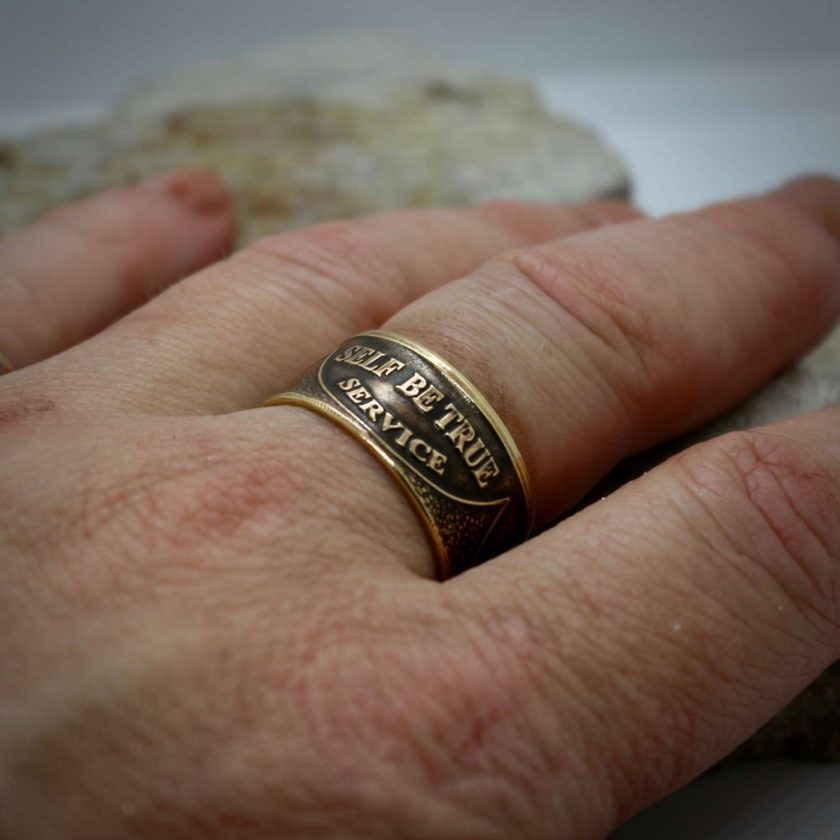 Sobriety Chip Coin Ring, alcoholic addiction recovery, AA anniversary gifts for men and women. 2