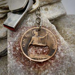 Key Chain, Bottle Opener Vintage British Penny Key Ring.