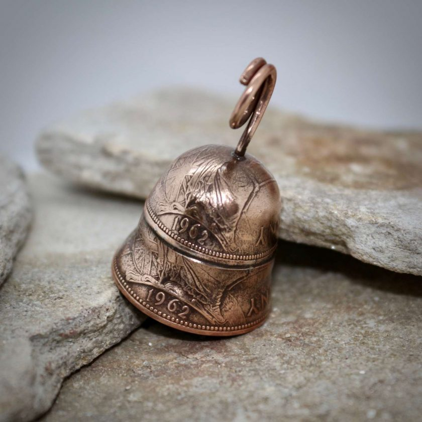 Coin Jewellery, Vintage British Penny Bell. Gremlin, Guardian Bell 7