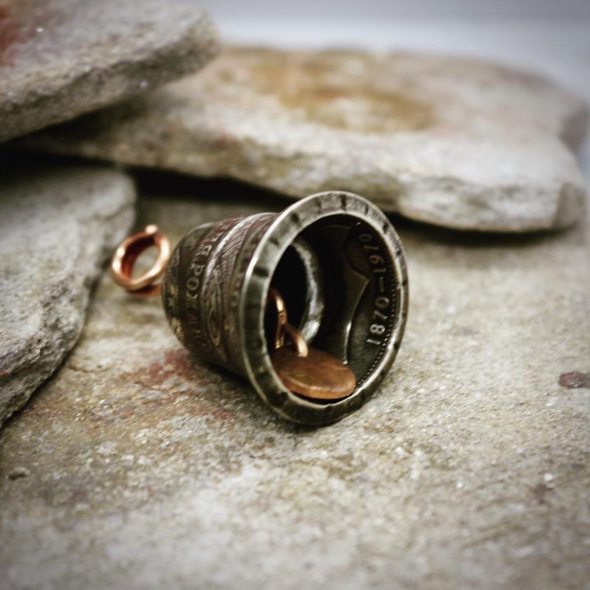 Coin Jewellery, Vintage British Penny Bell. Gremlin, Guardian Bell 9