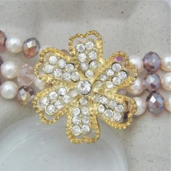 3 Strand Cream Pearl and Lilac Crystal Bracelet With A Gold Rhinestone Flower, Gift for Her 7