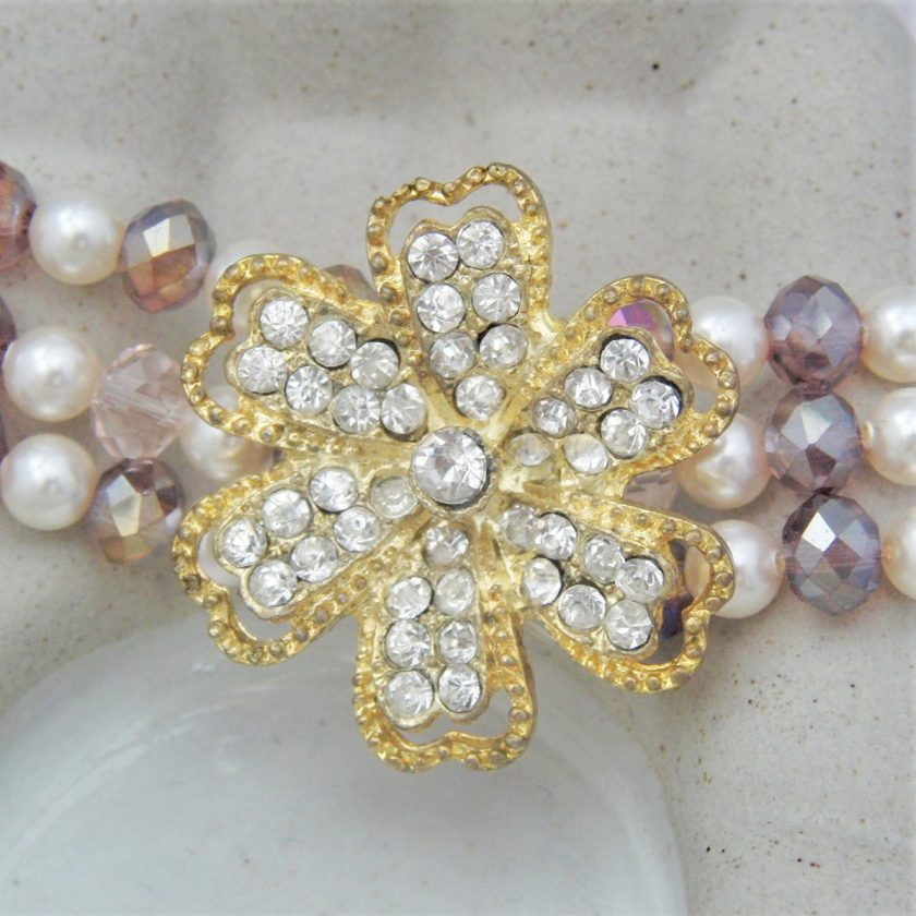 3 Strand Cream Pearl and Lilac Crystal Bracelet With A Gold Rhinestone Flower, Gift for Her 2