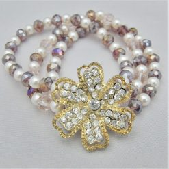 3 Strand Cream Pearl and Lilac Crystal Bracelet With A Gold Rhinestone Flower, Gift for Her 8