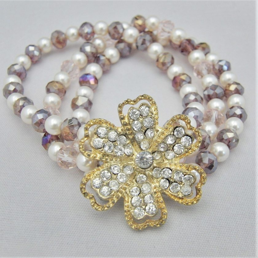 3 Strand Cream Pearl and Lilac Crystal Bracelet With A Gold Rhinestone Flower, Gift for Her 1