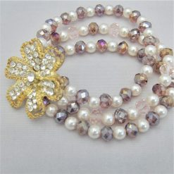 3 Strand Cream Pearl and Lilac Crystal Bracelet With A Gold Rhinestone Flower, Gift for Her 9