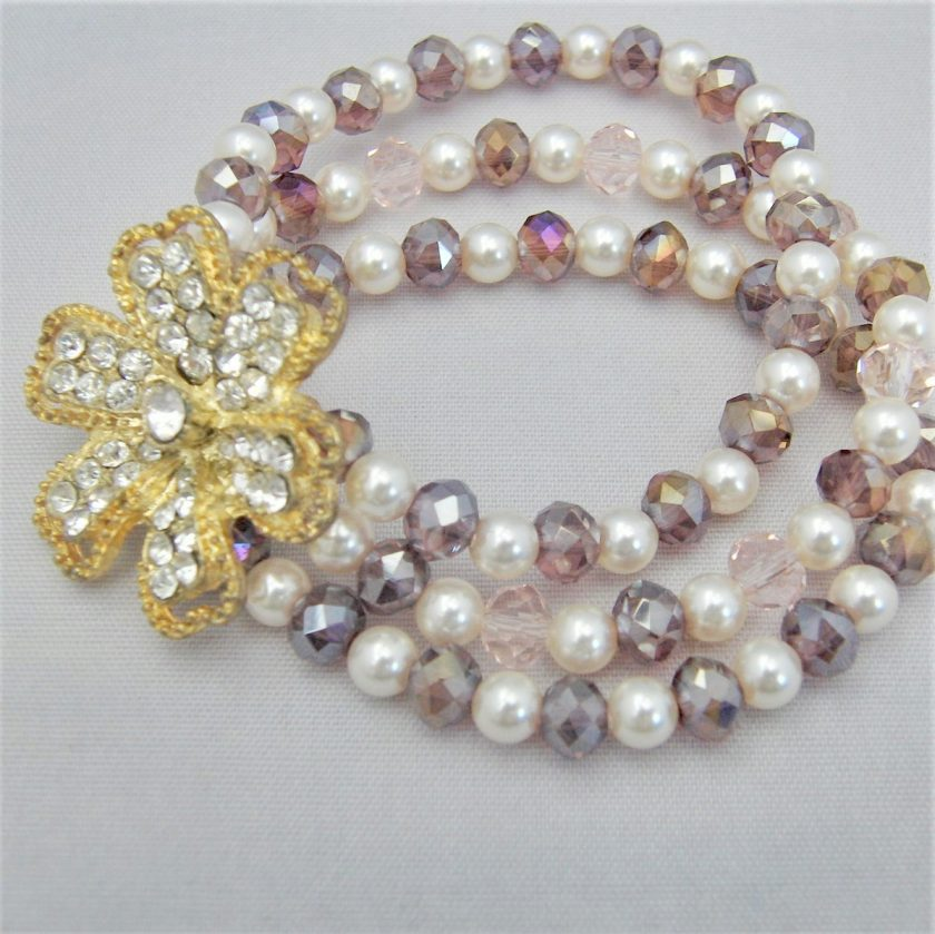 3 Strand Cream Pearl and Lilac Crystal Bracelet With A Gold Rhinestone Flower, Gift for Her 4