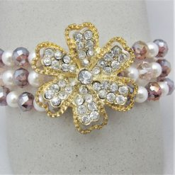 3 Strand Cream Pearl and Lilac Crystal Bracelet With A Gold Rhinestone Flower, Gift for Her 10