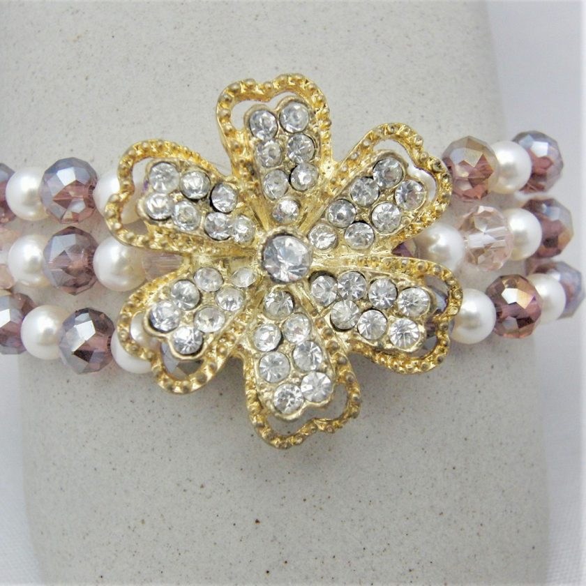 3 Strand Cream Pearl and Lilac Crystal Bracelet With A Gold Rhinestone Flower, Gift for Her 5