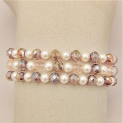 3 Strand Cream Pearl and Lilac Crystal Bracelet With A Gold Rhinestone Flower, Gift for Her 11