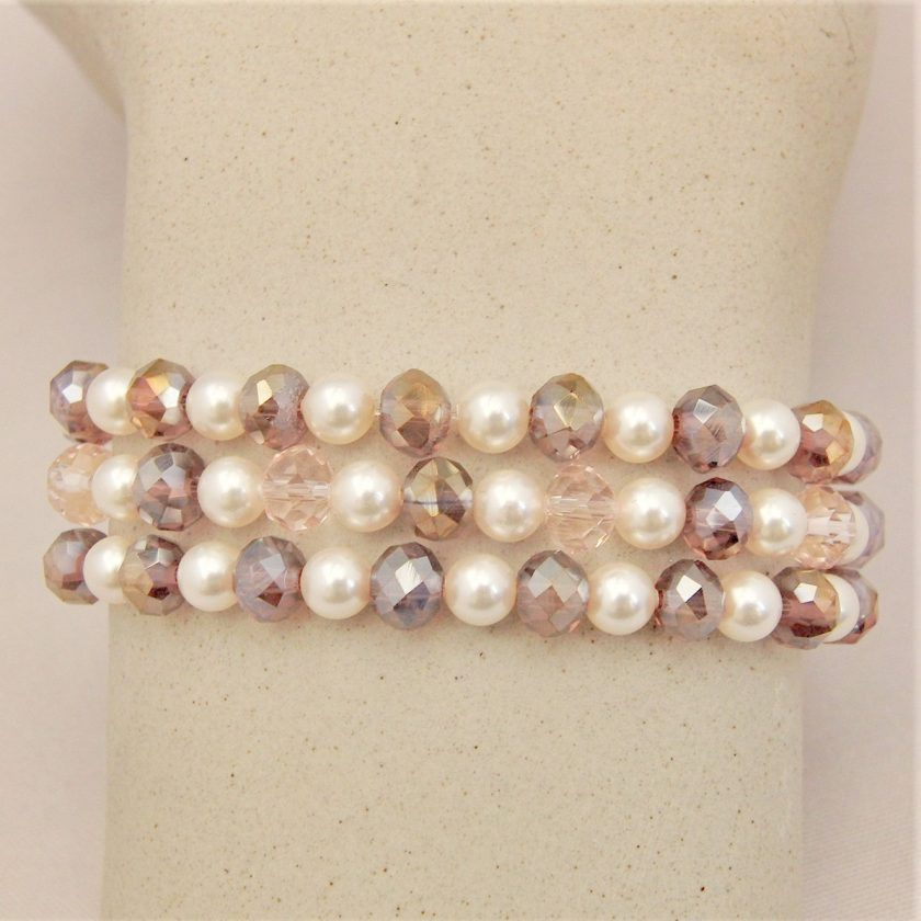 3 Strand Cream Pearl and Lilac Crystal Bracelet With A Gold Rhinestone Flower, Gift for Her 6