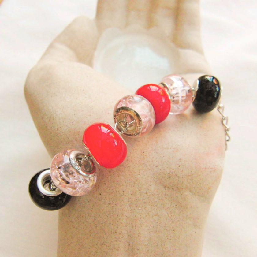 Black Pink and Red Lampwork Bead Bracelet on a Silver Plated Chain, Gift for Her 1