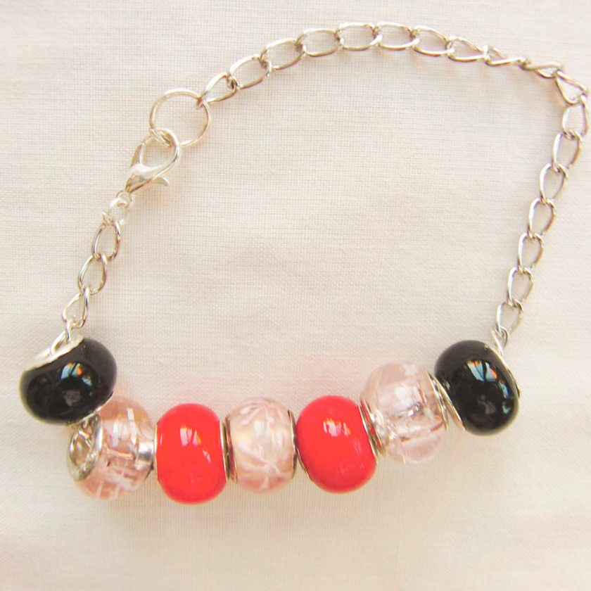 Black Pink and Red Lampwork Bead Bracelet on a Silver Plated Chain, Gift for Her 3