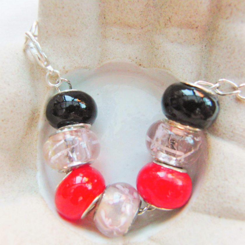 Black Pink and Red Lampwork Bead Bracelet on a Silver Plated Chain, Gift for Her 4