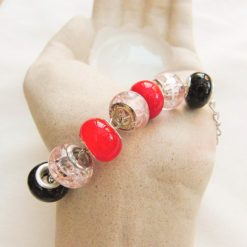 Black Pink and Red Lampwork Bead Bracelet on a Silver Plated Chain, Gift for Her 9