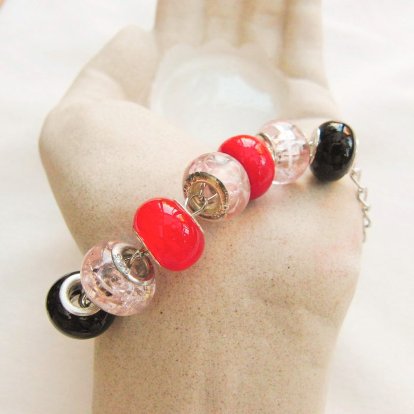 Black Pink and Red Lampwork Bead Bracelet on a Silver Plated Chain, Gift for Her 5