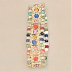 Multi Coloured Rhinestone Connector and Glass Crystal Rondelle Bead Stretch Bracelet, Gift for Her 7