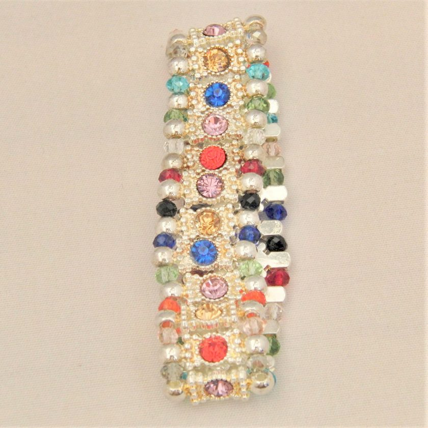 Multi Coloured Rhinestone Connector and Glass Crystal Rondelle Bead Stretch Bracelet, Gift for Her 2