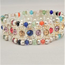 Multi Coloured Rhinestone Connector and Glass Crystal Rondelle Bead Stretch Bracelet, Gift for Her 8