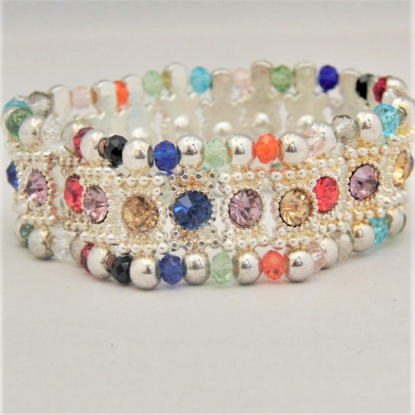 Multi Coloured Rhinestone Connector and Glass Crystal Rondelle Bead Stretch Bracelet, Gift for Her 1