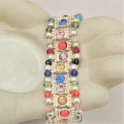 Multi Coloured Rhinestone Connector and Glass Crystal Rondelle Bead Stretch Bracelet, Gift for Her 9