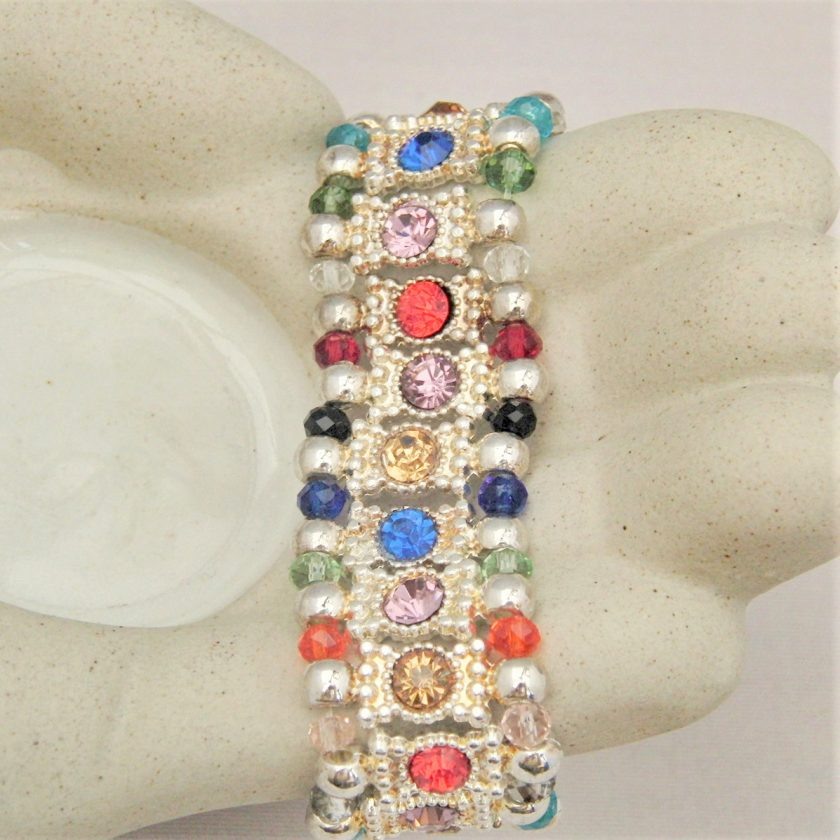Multi Coloured Rhinestone Connector and Glass Crystal Rondelle Bead Stretch Bracelet, Gift for Her 4