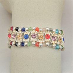 Multi Coloured Rhinestone Connector and Glass Crystal Rondelle Bead Stretch Bracelet, Gift for Her 10