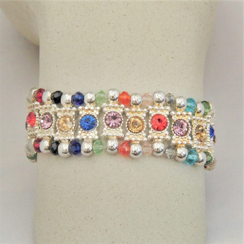 Multi Coloured Rhinestone Connector and Glass Crystal Rondelle Bead Stretch Bracelet, Gift for Her 5