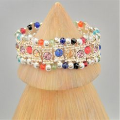 Multi Coloured Rhinestone Connector and Glass Crystal Rondelle Bead Stretch Bracelet, Gift for Her 11