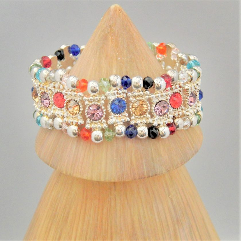 Multi Coloured Rhinestone Connector and Glass Crystal Rondelle Bead Stretch Bracelet, Gift for Her 6