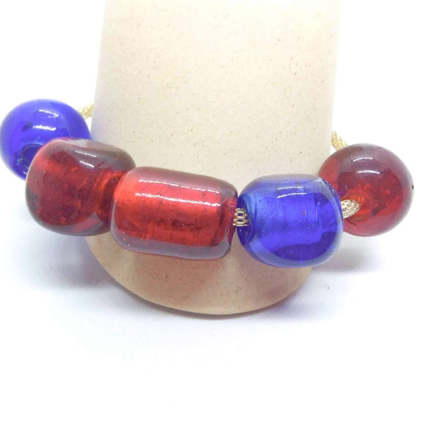 Bracelet Made Using Chunky Glass Beads on a Silver Mesh Band, Gift for Her, Ladies Bracelet 4