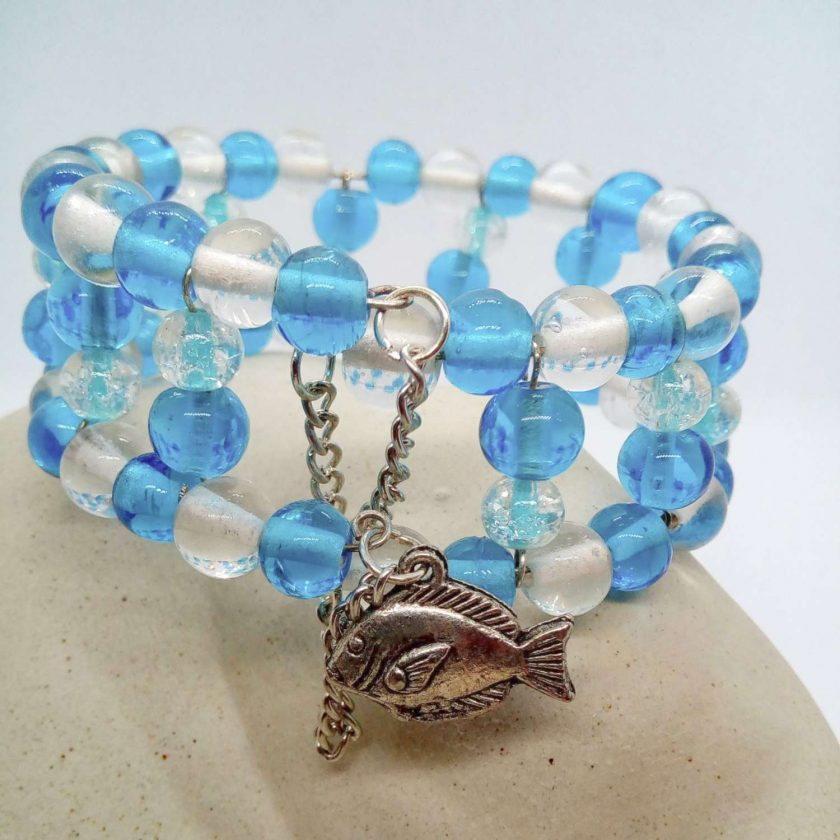 Blue and Clear Beaded Memory Wire Cuff Bracelet With Fish Charm and Safety Chain, Gift for Her 1