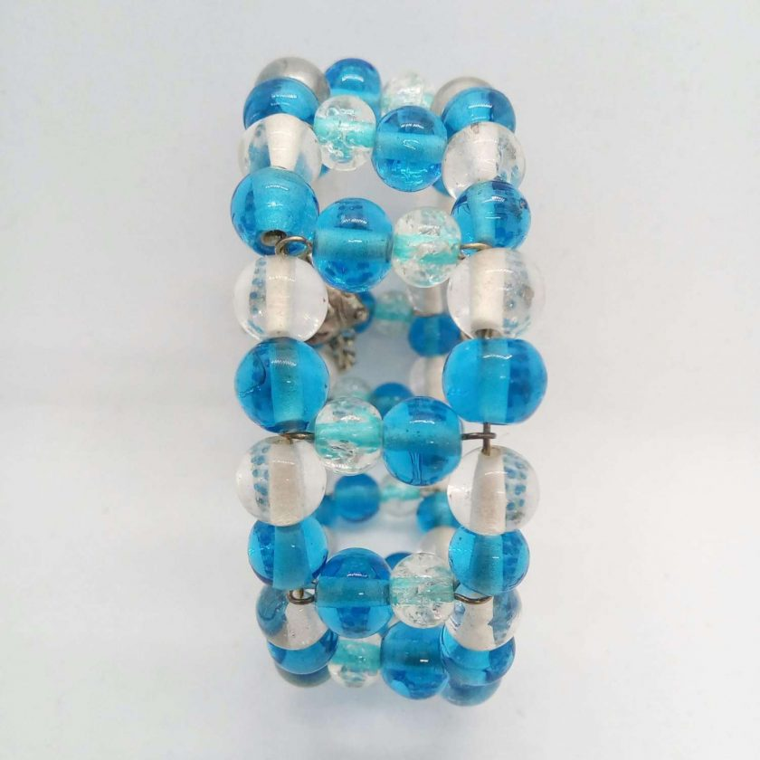 Blue and Clear Beaded Memory Wire Cuff Bracelet With Fish Charm and Safety Chain, Gift for Her 3