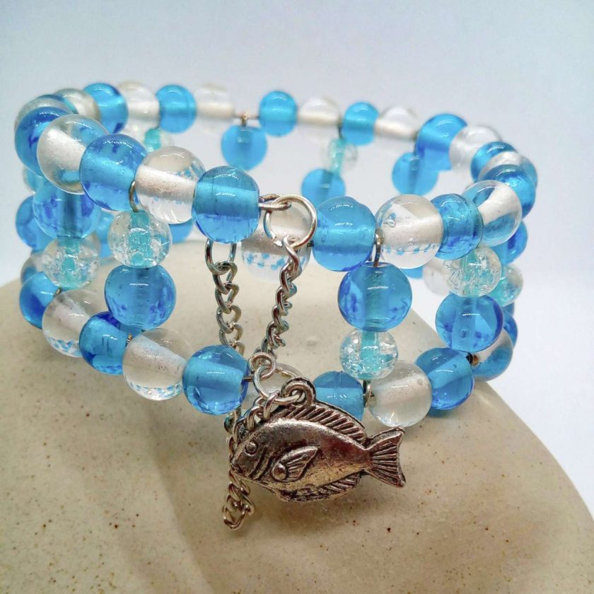 Blue and Clear Beaded Memory Wire Cuff Bracelet With Fish Charm and Safety Chain, Gift for Her 4