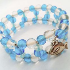 Blue and Clear Beaded Memory Wire Cuff Bracelet With Fish Charm and Safety Chain, Gift for Her 10