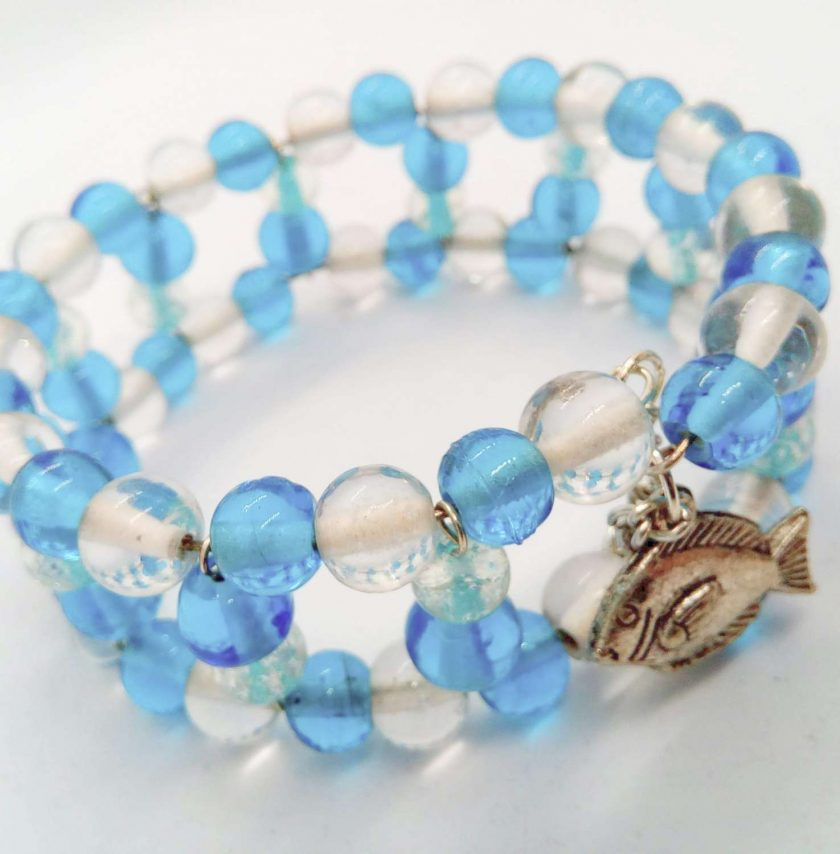 Blue and Clear Beaded Memory Wire Cuff Bracelet With Fish Charm and Safety Chain, Gift for Her 5