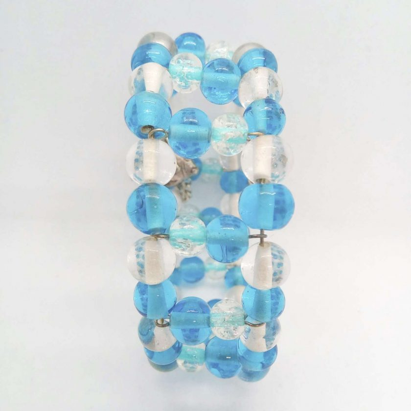 Blue and Clear Beaded Memory Wire Cuff Bracelet With Fish Charm and Safety Chain, Gift for Her 6