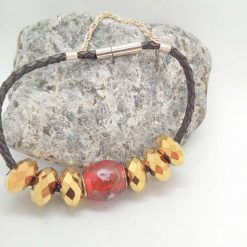 Red and Gold European Lampwork Bead Bracelet on a Black Plaited Leather Band, Gift for Her 7