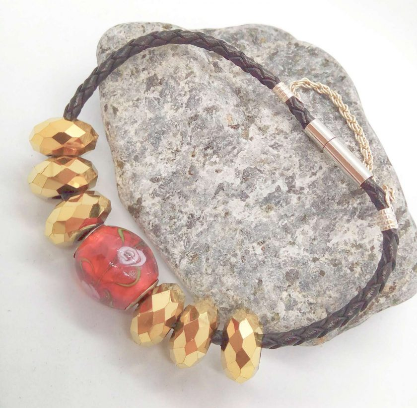 Red and Gold European Lampwork Bead Bracelet on a Black Plaited Leather Band, Gift for Her 3