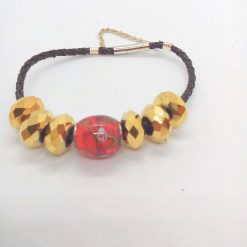Red and Gold European Lampwork Bead Bracelet on a Black Plaited Leather Band, Gift for Her 9