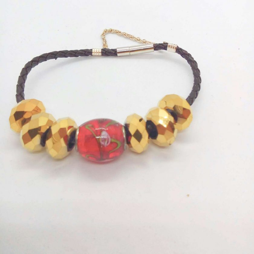 Red and Gold European Lampwork Bead Bracelet on a Black Plaited Leather Band, Gift for Her 4