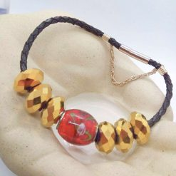 Red and Gold European Lampwork Bead Bracelet on a Black Plaited Leather Band, Gift for Her 10