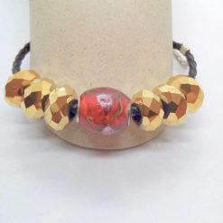 Red and Gold European Lampwork Bead Bracelet on a Black Plaited Leather Band, Gift for Her 11