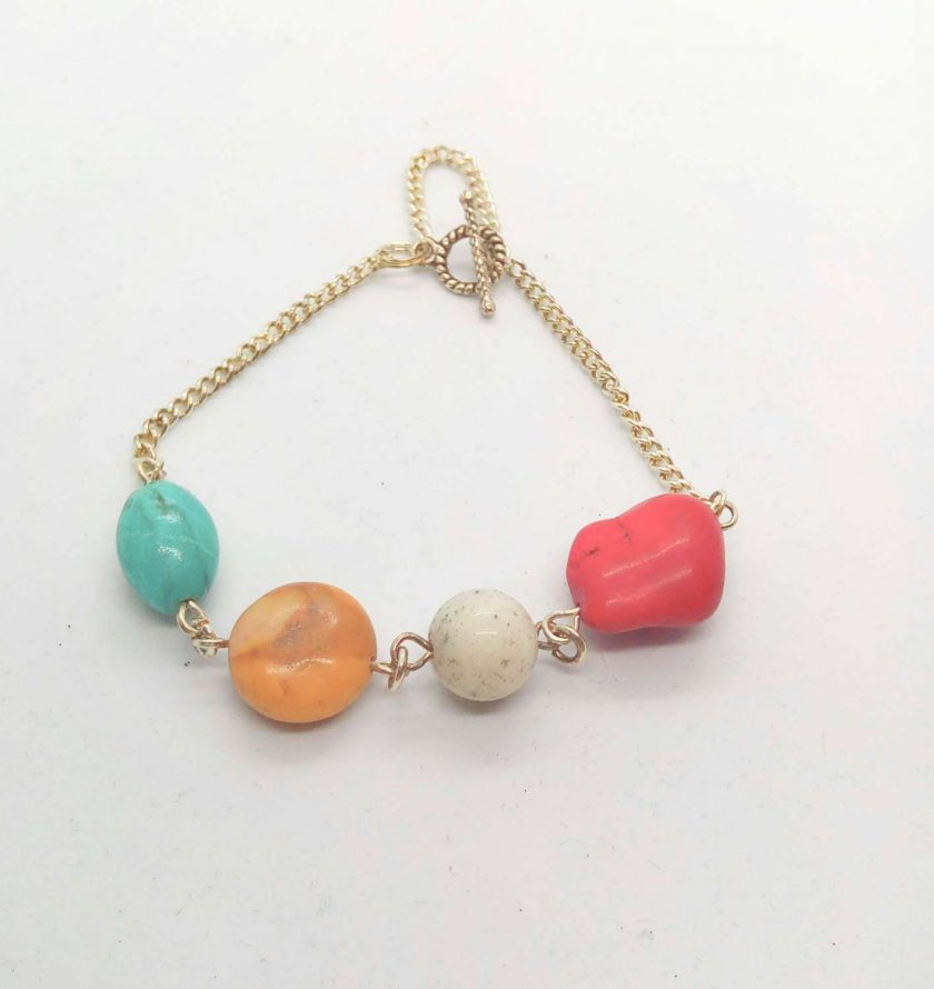 Semi Precious Bead and Silver Plated Chain Elements Bracelet with Safety Chain, Gift for Her 2