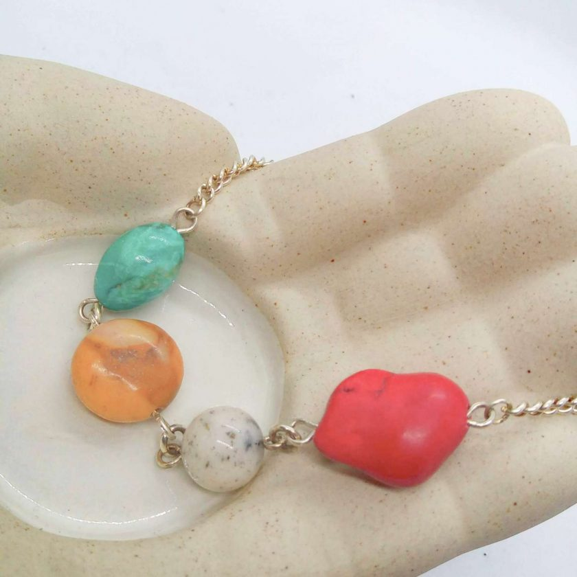 Semi Precious Bead and Silver Plated Chain Elements Bracelet with Safety Chain, Gift for Her 4